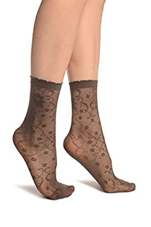 Grey Orchids On Lace Ankle High Socks - Socks