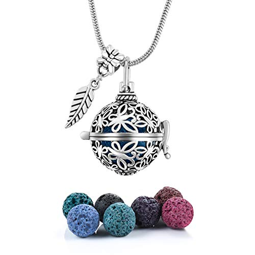 Antique Silver Aromatherapy Essential Oil Diffuser Locket Necklace Pendant, Round/Heart Cage Locket Bulk with 7 Lava Stone Rock Beads Balls Set for Necklace Jewelry