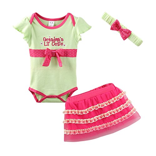 Mud Kingdom Cute Thanksgiving Baby Girl Outfits 9-12 Months Clothes Sets Grandma's LIL' Cutie 12M Green - Beautiful Baby Lace Skirt
