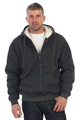 Gioberti Men and Women Sherpa Lined Pull Zip Fleece Hoodie Jacket, Heather Charcoal, Small