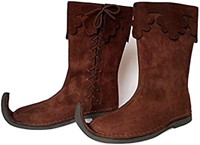Renaissance Inspired Loafer Boot Re-Enactment Viking Mens Shoes  SCA LARP Riding Costume Boot for Cosplay Halloween Caribbean Pirate Costume Boots AnNafi Medieval Leather Boots 4 Buckle Long Boots