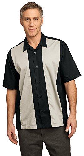 Port Authority Retro Camp Shirt, Black/Light Stone, X-Large