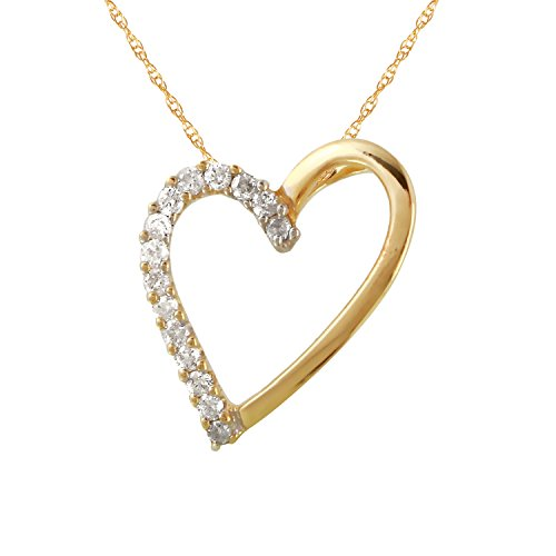 0.11 Carat Natural Diamond 14K Yellow Gold Heart Pendant Necklace for Women 0.11 Ct Diamond Pendant