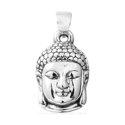 Buddha Head Pendant 925 Sterling Silver Jewelry for Women ()