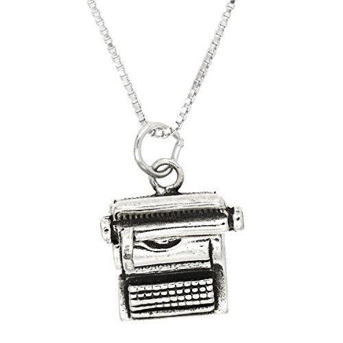 Lgu Sterling Silver Oxidized Three Dimensional Typewriter Necklace (16 Inches)