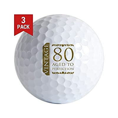 CafePress - Fancy Vintage 80Th Birthday - Golf Balls (3-Pack), Unique Printed Golf Balls