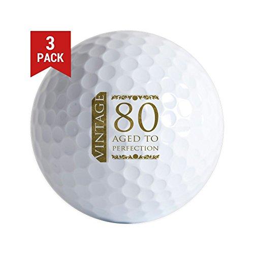 Old Vintage Golf Balls - CafePress Fancy Vintage 80Th Birthday Golf Balls (3-Pack), Unique Printed Golf Balls