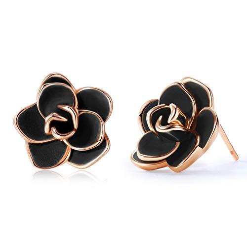 Acefeel 18K Rose Gold Plated Rose Flower Stud Earrings with Black Enamel for Women 15mm