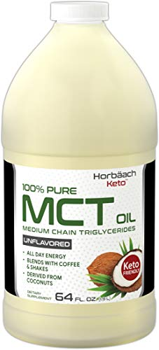 Horbaach 100% Pure MCT Oil 64 oz | Unflavored, Huge Size, from Coconut, Keto, Blends with Coffee & Tea and Juice | Vegetarian, Non-GMO