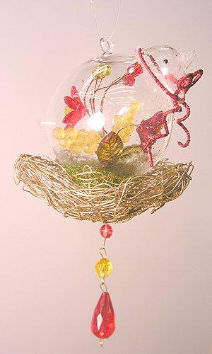 (Sterling Glass Bird In Glitter Nest w/Flowers Christmas Ornament)