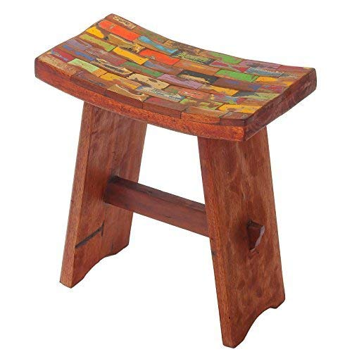 Japanese Reclaimed Wood Vanity Stool