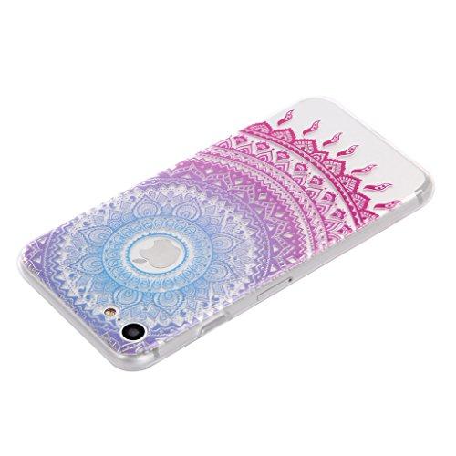 ZXLZKQ pour iPhone 7 Etui Transparent Soft TPU Housse Silicone Case Fleur Polka Dot Rayures Rose Pourpre bumper Coque pour Apple iPhone 7 (non applicable iPhone 7 Plus)