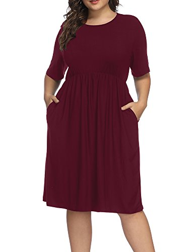 Allegrace Women Plus Size Half Sleeve Round Neck Cocktail Midi Dress Ruffle Party Dresses Wine Red 2X