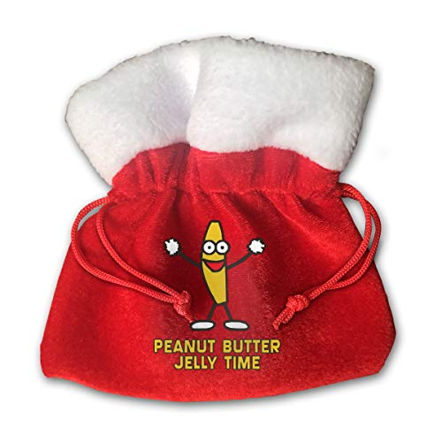 HYEECR Peanut Butter Jelly Time Christmas Bags Santa Present Sack Drawstring Bag for Holiday Wrapping