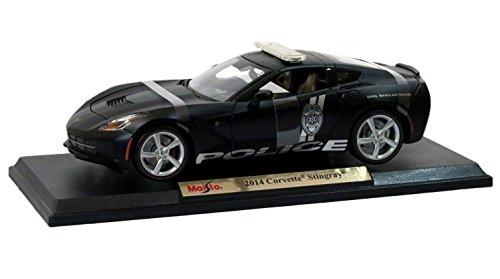 (Maisto New 1:18 W/B Premiere Edition - Matte Black 2014 Chevrolet Corvette Stingray Police Diecast Model Car )