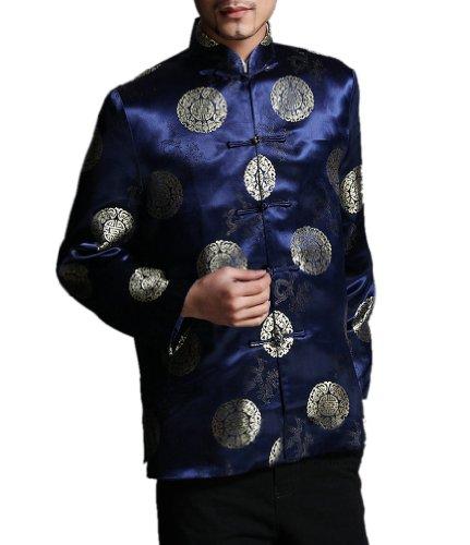 Chaqueta Blazer Clásica China Tai Chi Kung Fu de Color Rojo - Mezcla de Seda Ligera #205 Azul