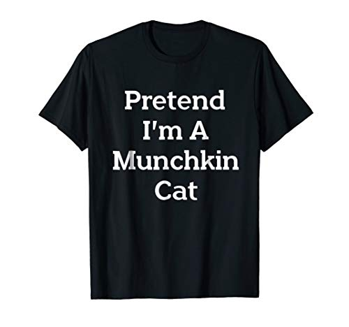 Pretend Munchkin Cat Costume Funny Halloween Party T-Shirt -