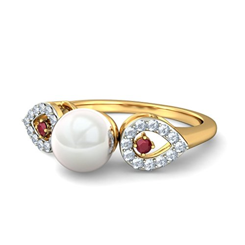 18K Or jaune, 0,12carat Diamant Blanc (IJ | SI) Rubis et blanc perle et diamant Bague