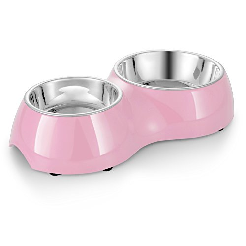 Flexzion Pet Feeder Stainless Steel Dog Bowl (Set of 2) - Feeding Station Tray with Removable Food Water Holder, Rubber Slip Resistant Base Stand, Dishwasher Safe & Rust Resistant for Dog Cat (Pink)