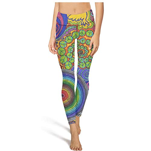 (Bbaitrade tie dye Psychedelic Trippy Peace Sign Yoga Pants for Women Girls Workout high Waisted Leggings )