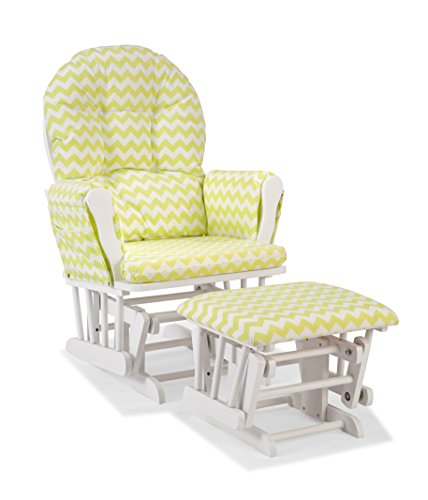 (Storkcraft Custom Hoop Glider and Ottoman, White/Citron Green Chevron)