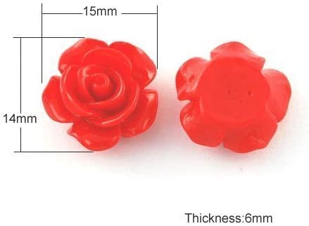 Charming Beads Packet of 30 x Red Resin 6 x 15mm Flower-Shaped Flat-Backed Cabochon Y02625