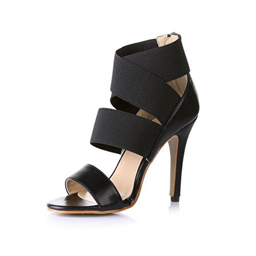 Cena Alto Shoes Verano Las Sandalias Noble Mujer Banda Nuevas Black Del Zapatos Salvaje Elástica De heel Negro Hembra Banquete qPC6z