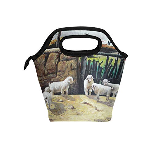 Brighter Oil Painting Sheep Lunch Tote Bag Portable Lunch Meal Bags Zipper Travel Lunchbox Picnic School Handbags for Office
