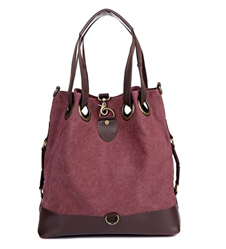 WLE Retro Big Hobo Shoulder Bag Womens Canvas Casual Purse Bucket Crossbody Bag for women girls ladies.(Wine red) by WLE