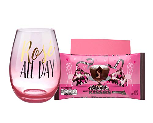 Valentines Day Gifts for Her or Him Hershey's Kisses Lava Cake Bundle with Rose ALL DAY Stemless Wine Glass and Card - 3 items in set
