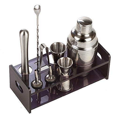 ZJFSX 9 Piece Premium Bar Tool Kit, Professional Bartender Cocktail Shaker Set, with Built-in Strainer and Acrylic Holder