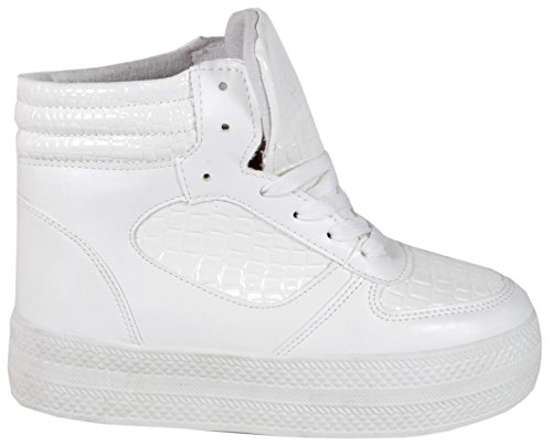 De 37 En Sport Chaussures Femme Waydla 40 Véritable plateau High 39 Aspect Peau Top Weiß Baskets 41 38 Croco 36 Python qtqzvwZ