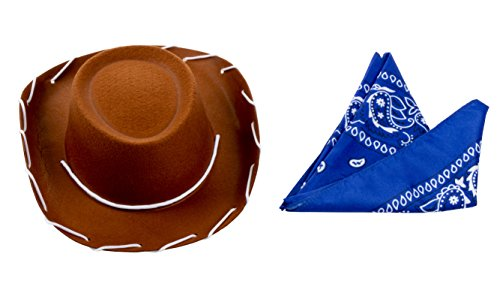 Cowboy Hat for Kids - 2-Pack Children Cowboy Western Hat with Blue Paisley Bandana for Birthdays, Halloween Parties, Dress-Up Costume Accessories