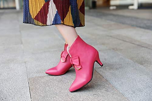 Pelle Womens Colore Il Punta In Lady Cerniera Bowknot Pu Solido poliuretano Caviglia O Partito Wild Pink Tacchi Shopping Stivali pink 34eu Alti Per Adong Lo vR7dnxpXqp