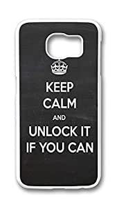 Samsung Galaxy S6 Case,Logo Series Customize Ultra Slim Ios6 Keepcalm Unlock Hard Plastic PC White Case Bumper Cover for S6