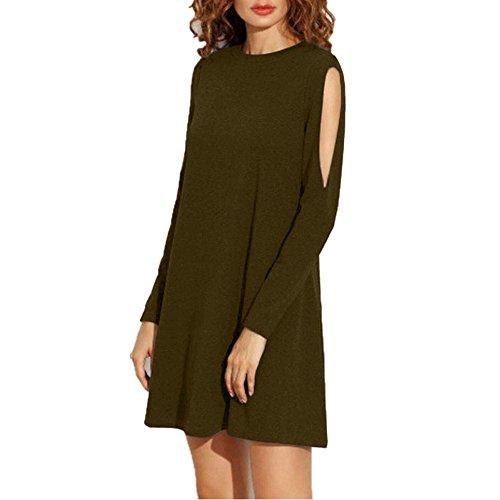 SEBOWEL Women's Cutout Cold Shoulder Long Sleeve T-Shirt Dress Swing Top Shift