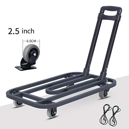 Truck Cart Heavy Duty Flat Bed Transport, Platform Folding Hand Trolley with 4 2.5inch Wheels, Folding Platform Cart Rolling Flatbed Cart Hand Platform Push (Color : Black) from Truck