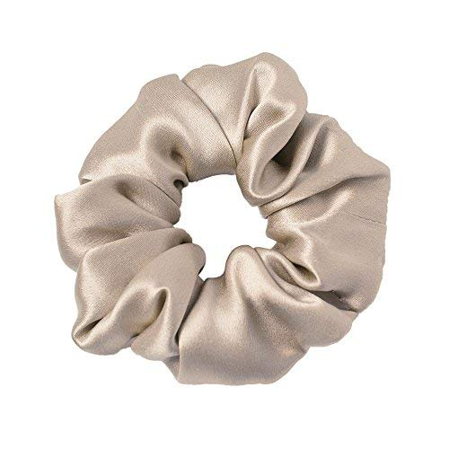 (LilySilk Silk Charmeuse Scrunchy -Regular -Scrunchies For Hair - Silk Scrunchies For Women Soft Hair Care Coffee)