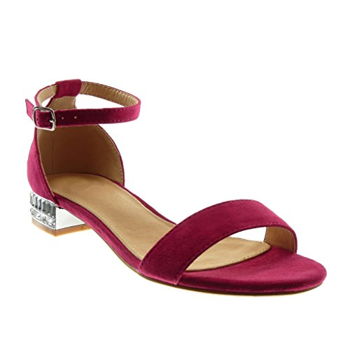 Angkorly Women's Fashion Shoes Sandals - Ankle Strap - Rhinestone - Thong Block Heel 2.5 cm Fushia ubepZAb
