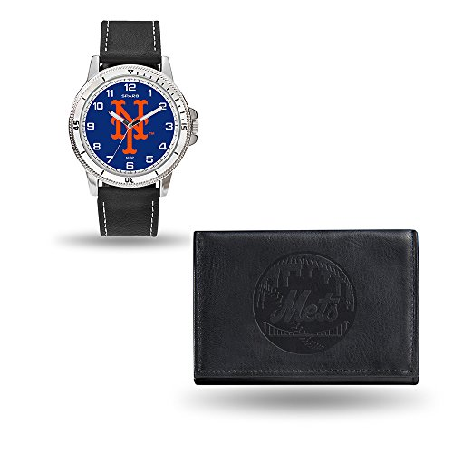 New York Mets Watch - Rico Industries MLB New York Mets Men's Watch and Wallet Set, Black, 7.5 x 4.25 x 2.75-Inch