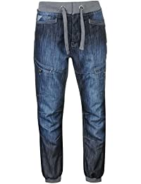 Mens Cuffed Jeans Jog Pants Trousers Bottoms Tie Fastening Elasticated