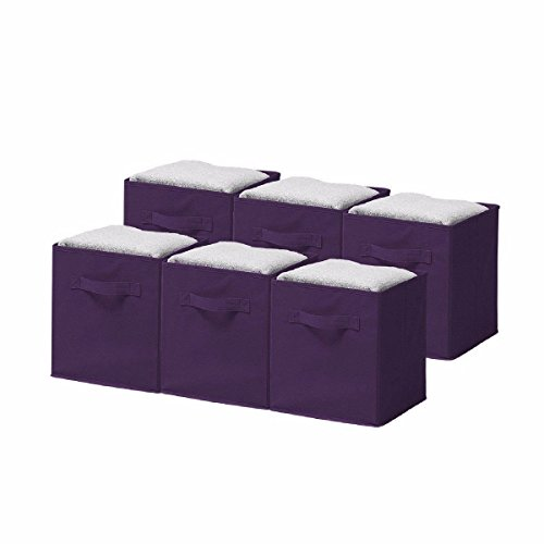 Unique HomeStorage Cubes - Collapsible Storage Basket Bin Organizer Containers, Fabric Drawers , SpaceSaving & Light Weight for Travel - 6pc Set Purple