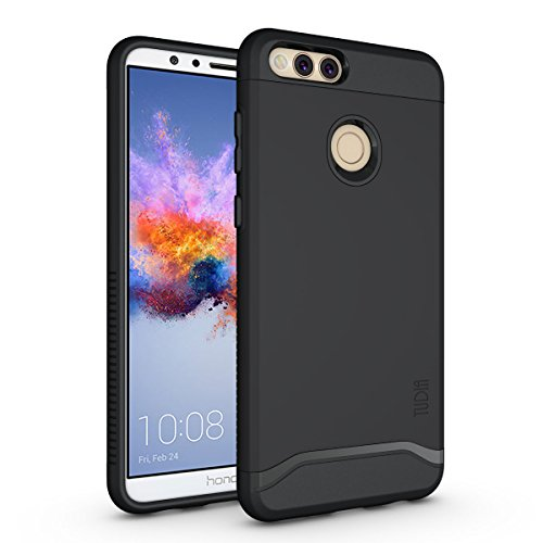 Rubberized Shield Black Protector Case (Honor 7X/Mate SE Case, TUDIA Slim-Fit HEAVY DUTY [MERGE] EXTREME Protection/Rugged but Slim Dual Layer Case for Huawei Honor 7X/Mate SE (Matte Black))