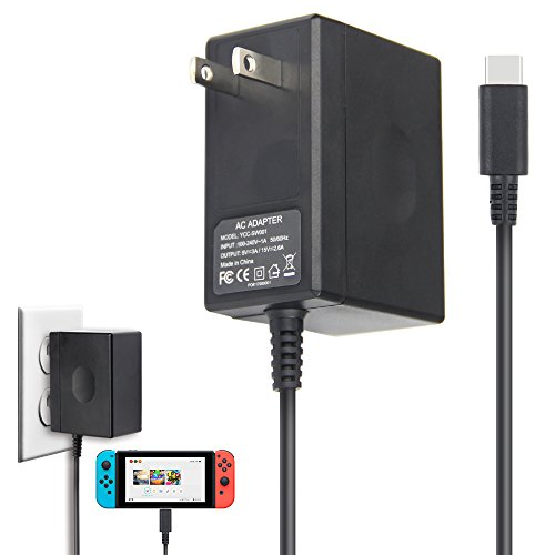 AC Adapter Charger for Nintendo Switch, ANOTEK Nintendo AC Adapter Switch Charger Fast Charging Kit for Dock and Pro Controller, 15V 2.6A 5 Feet Type C Power Core for Nintendo Switch(Supports TV Mode)