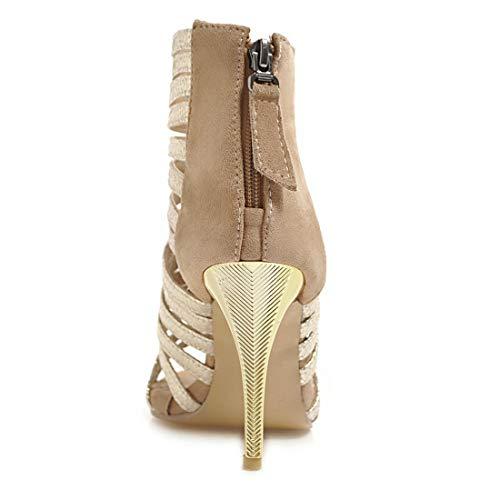 Ouvertes Chaussures Lacets Talon Hautes Esclave aiguille Glissière Sans Sexuel Sandales À Fermeture Doré Vitalo Avec Femme D'été Élégant xAwvEE