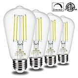 Vintage Edison LED Light Bulbs Dimmable Hansang E26 Medium Base 4000K Daylight 6W(60 Watt Equivalent) ST58 Clear 800LM Glass Shape Antique Filament Classic Light Bulb 4 Pack