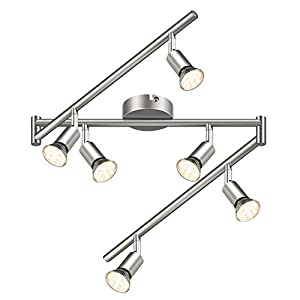 LED Ceiling Light Reteck 6 Way Spotlight Rotatable for Kitchen, Living Room and Bedroom, Include 6 X GU10 LED Bulbs (3.5W, 380LM, Warm White) Adjustable LED Ceiling Spotlight – Matte Nickel