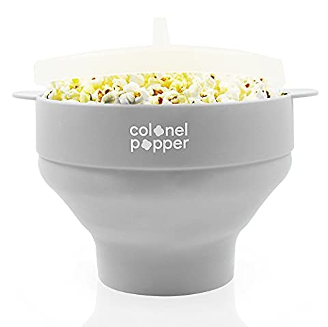 Colonel Popper Microwave Popcorn Maker, No Oil Healthy Silicone Popcorn Popper, Dishwasher Safe, Collapsible Bowl, BPA Free, Makes 14 Cups in Minutes - Carmel Bar Table