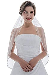 SAMKY 1T 1 Tier Pearl Silver Beads Flower Bridal Wedding Veil