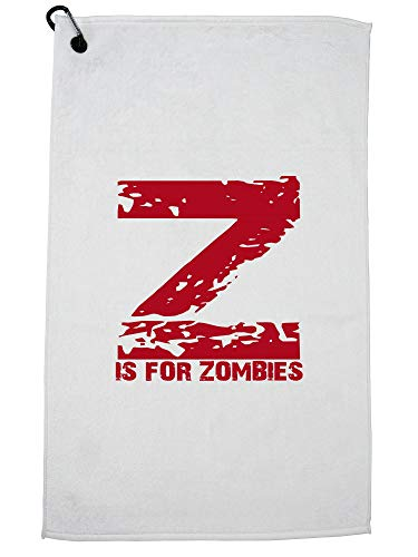 Hollywood Thread Z is for Zombies - Red Large Print Trendy Golf Towel with Carabiner Clip -